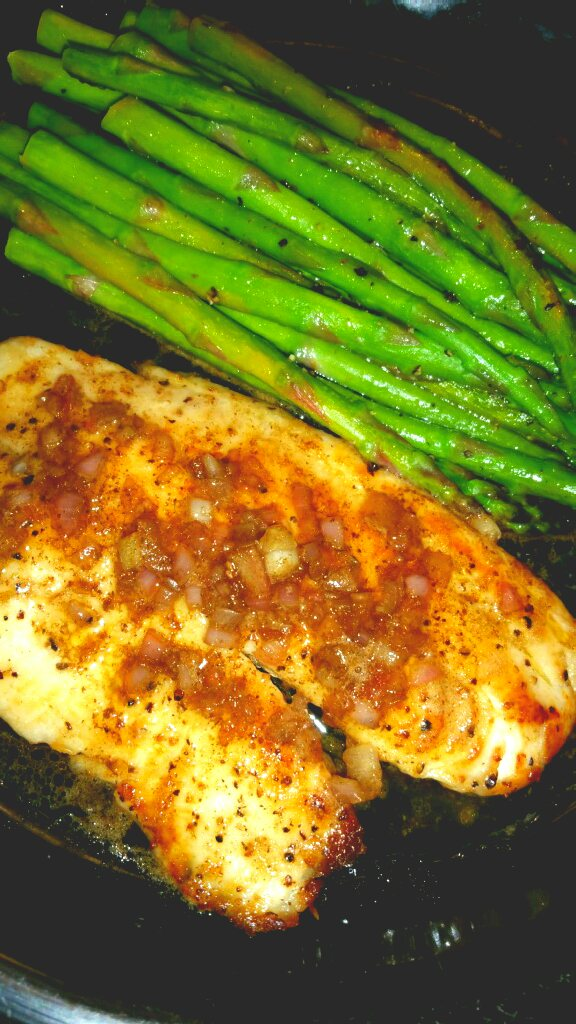 Tilapia and Asparagus with Lemon, Balsamic, & Brown Butter || Biscuits & Burlap
